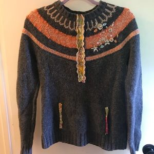 Wool free people fair isle embellished sweater